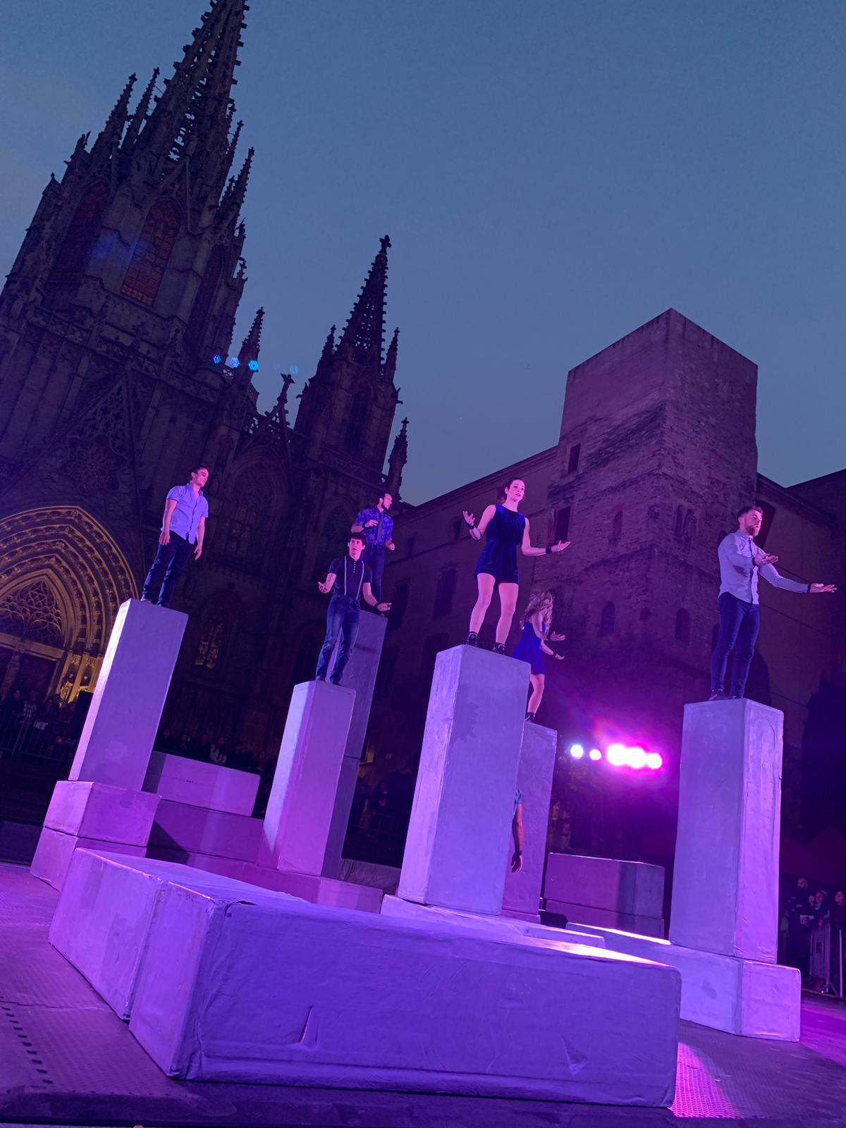 BLOCK dancers standing on the blocks