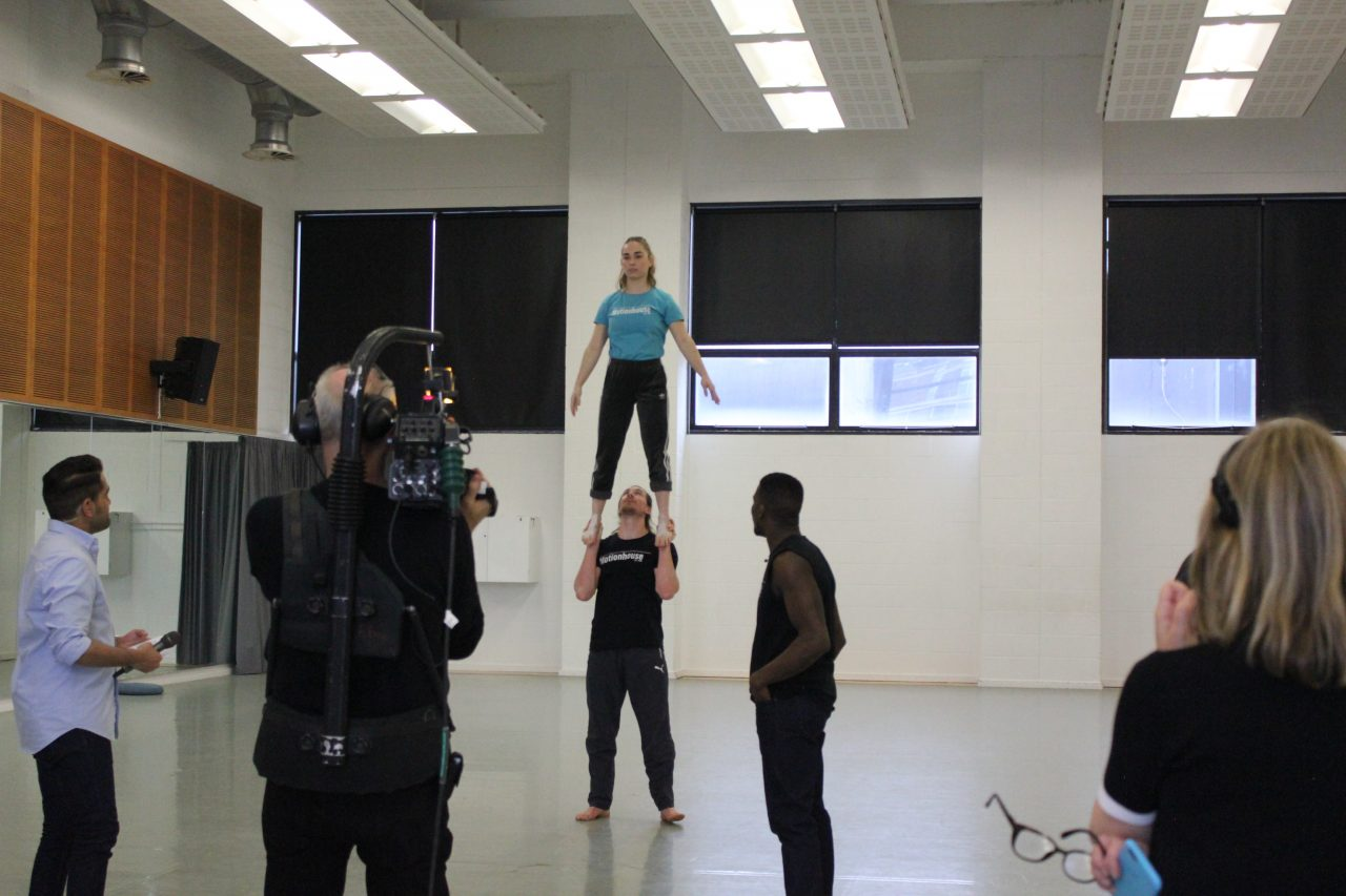 Berta and Chris lift for the BBC live stream