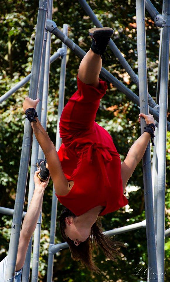 Beth in upside down splits for WILD